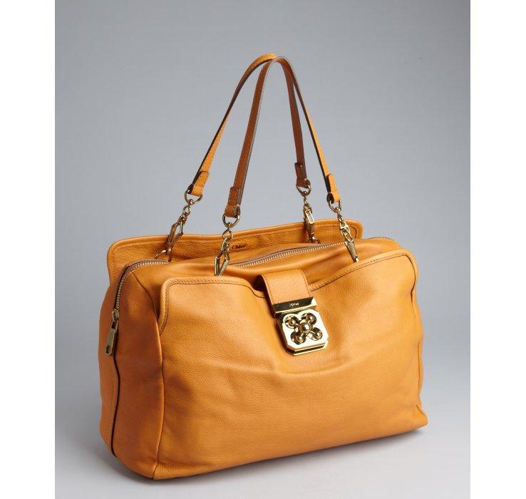Chlo¨¦ Camel Leather Elsie Tote in Orange (camel) | Lyst