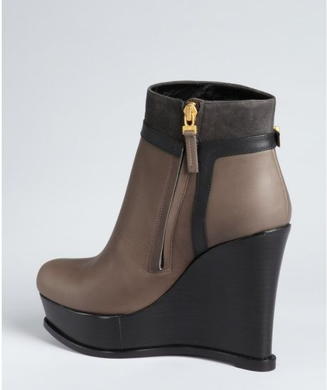 fendi black and smoke leather wedge ankle boots in brown