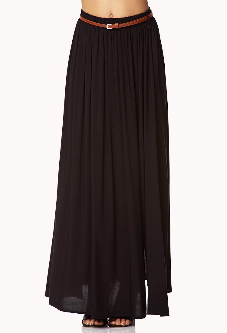 forever 21 front slit maxi skirt w belt in black lyst