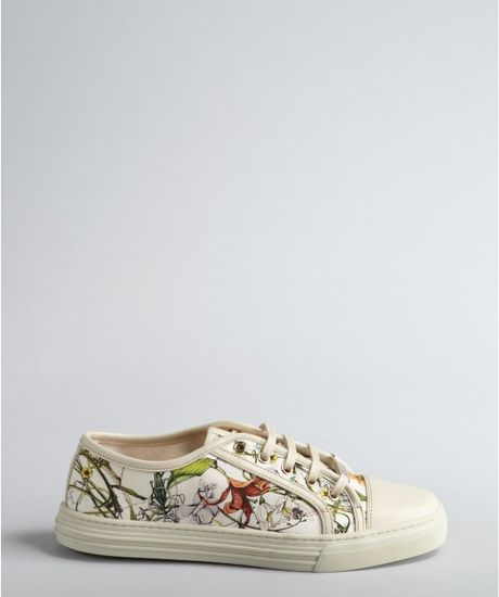 Gucci Floral Print Canvas Low Top Sneakers In White Lyst