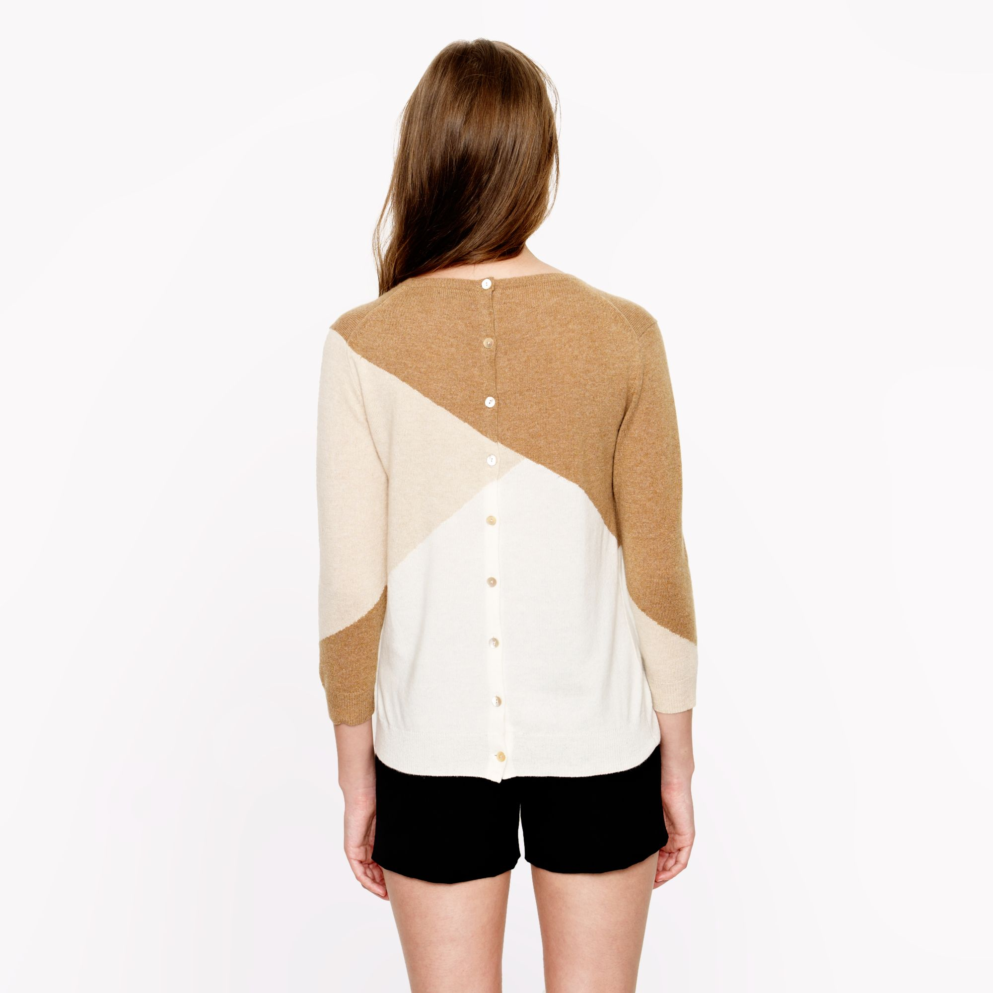 Lyst Jcrew Collection Cashmere Buttonback Sweater In Colorblock
