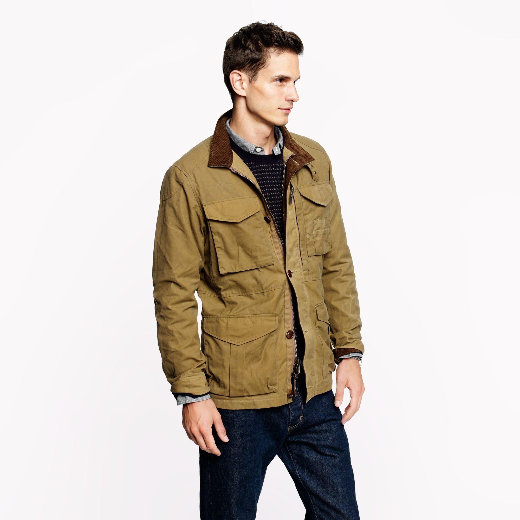 J Crew Tall British Millerain Waxed Cotton Field Jacket In