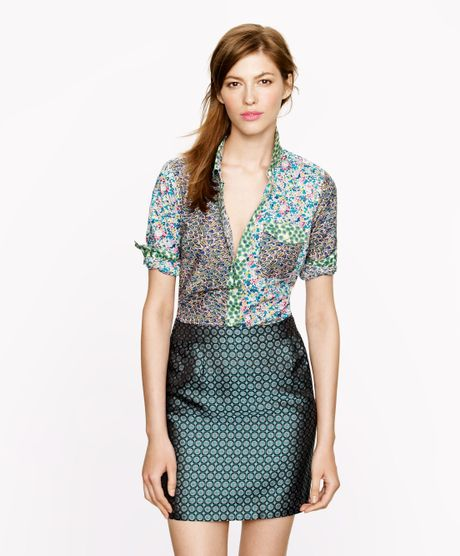 J.crew Liberty Boy Shirt in Mixed Prints in Green (ballet pink multi)