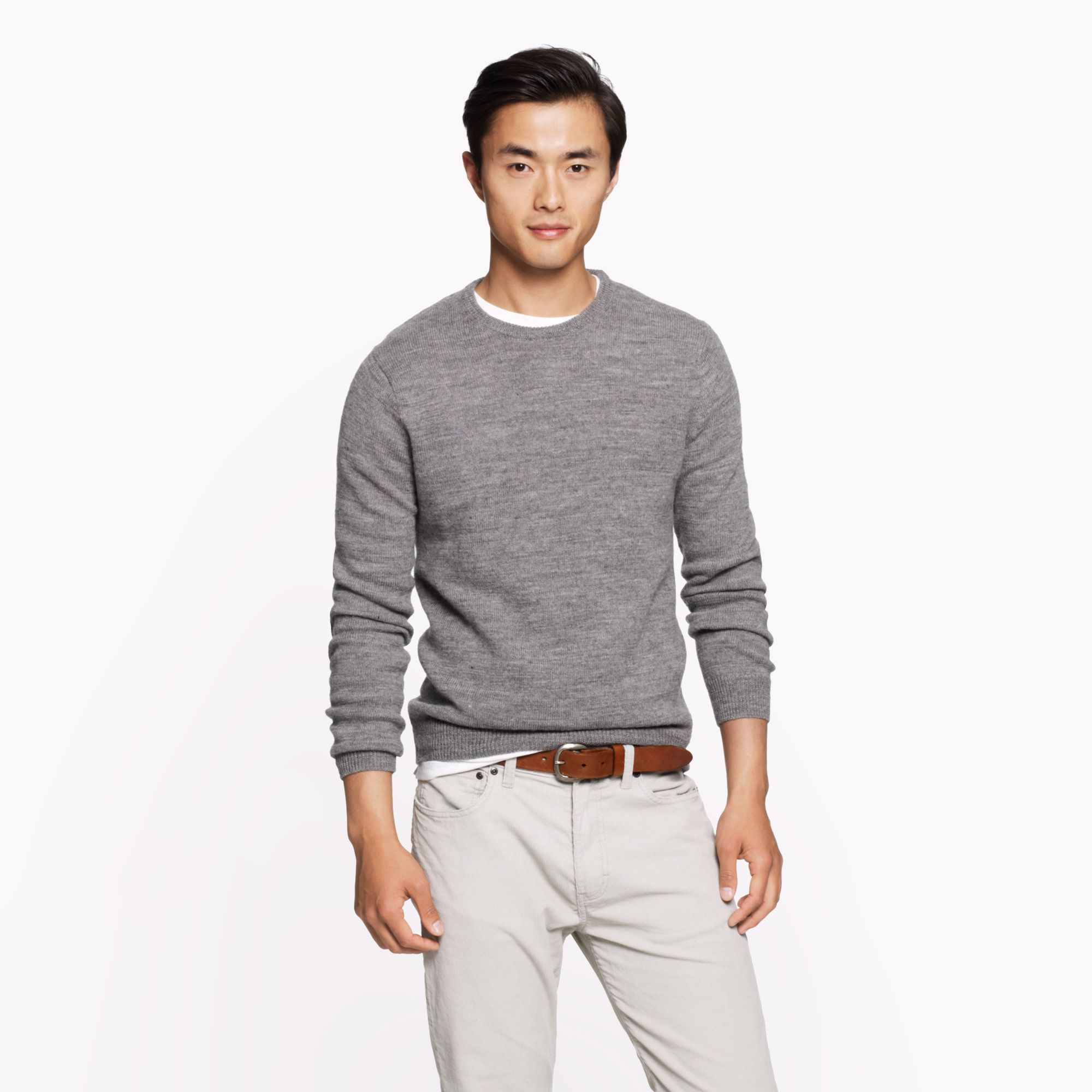 Rustic merino elbow patch sweater in gray for men for J crew mens outfits
