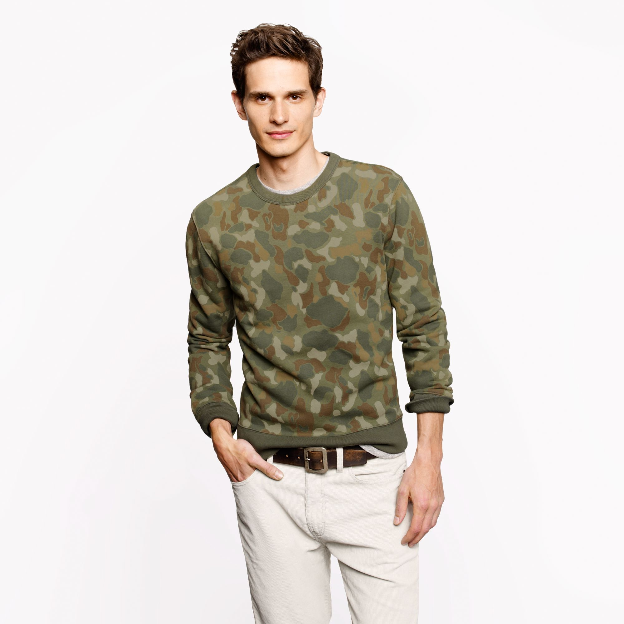 J Crew Wallace Barnes Camo Sweatshirt In Green For Men Lyst