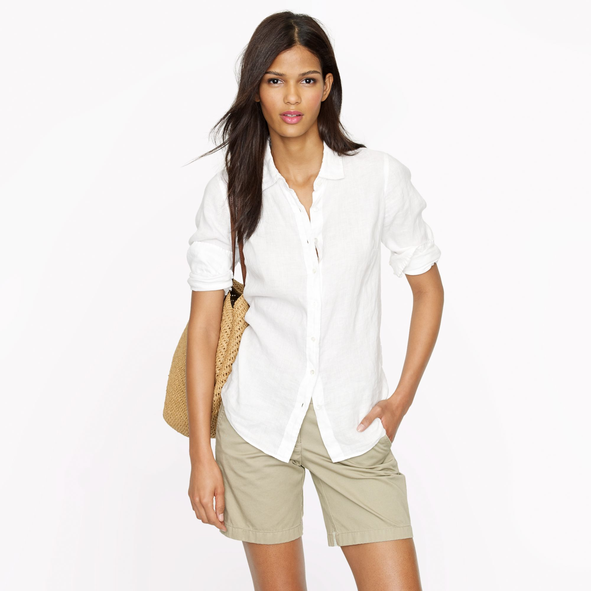 Perfect shirt in linen in white lyst for Jcrew com