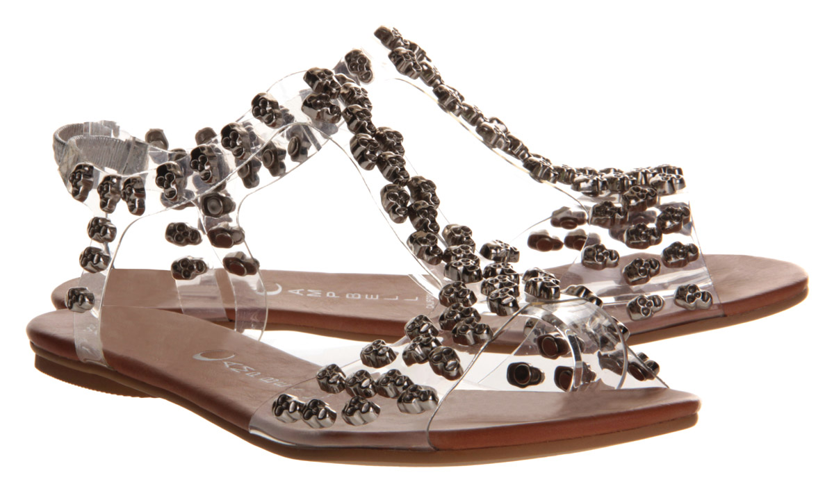Jeffrey Campbell Puffer Skulls Sandal Clear Silver In