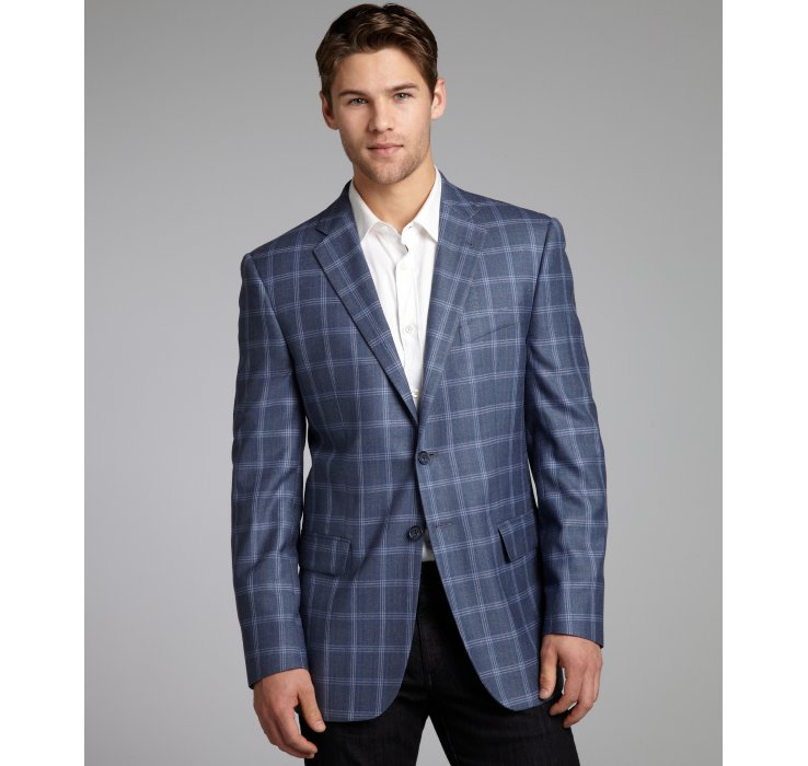 Joseph abboud Pale Navy Plaid Silk-wool Blend Woven Blazer in Blue ...