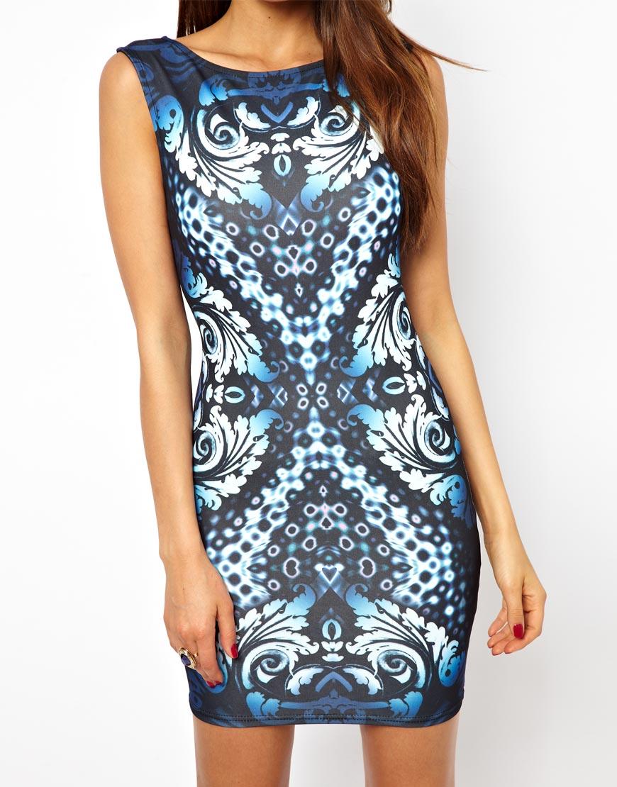 Lipsy Bodycon Dress in Baroque Print | Lyst