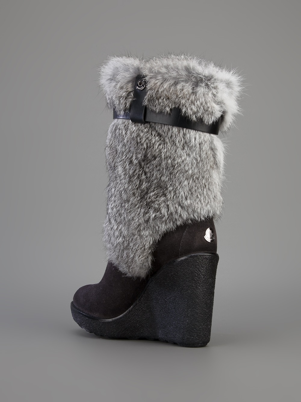 Lyst Moncler Wedge Fur Boot In Gray