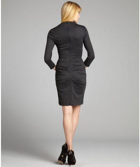 Nicole Miller Charcoal Heather Stretch Long Sleeve Ruched