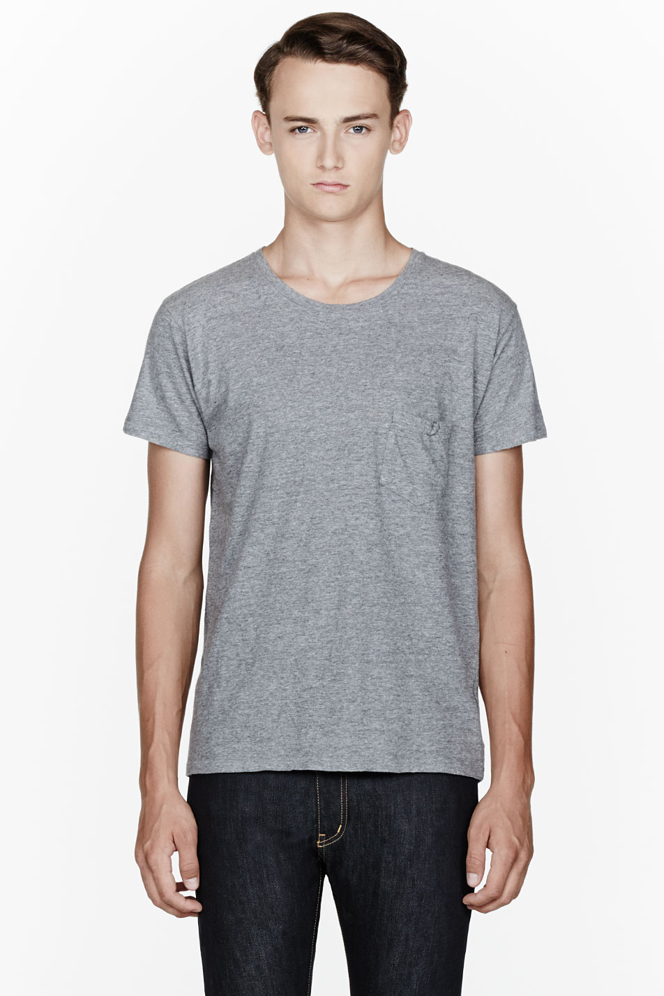 Saint laurent heather grey ruched pocket t shirt in gray for Mens heather grey t shirt