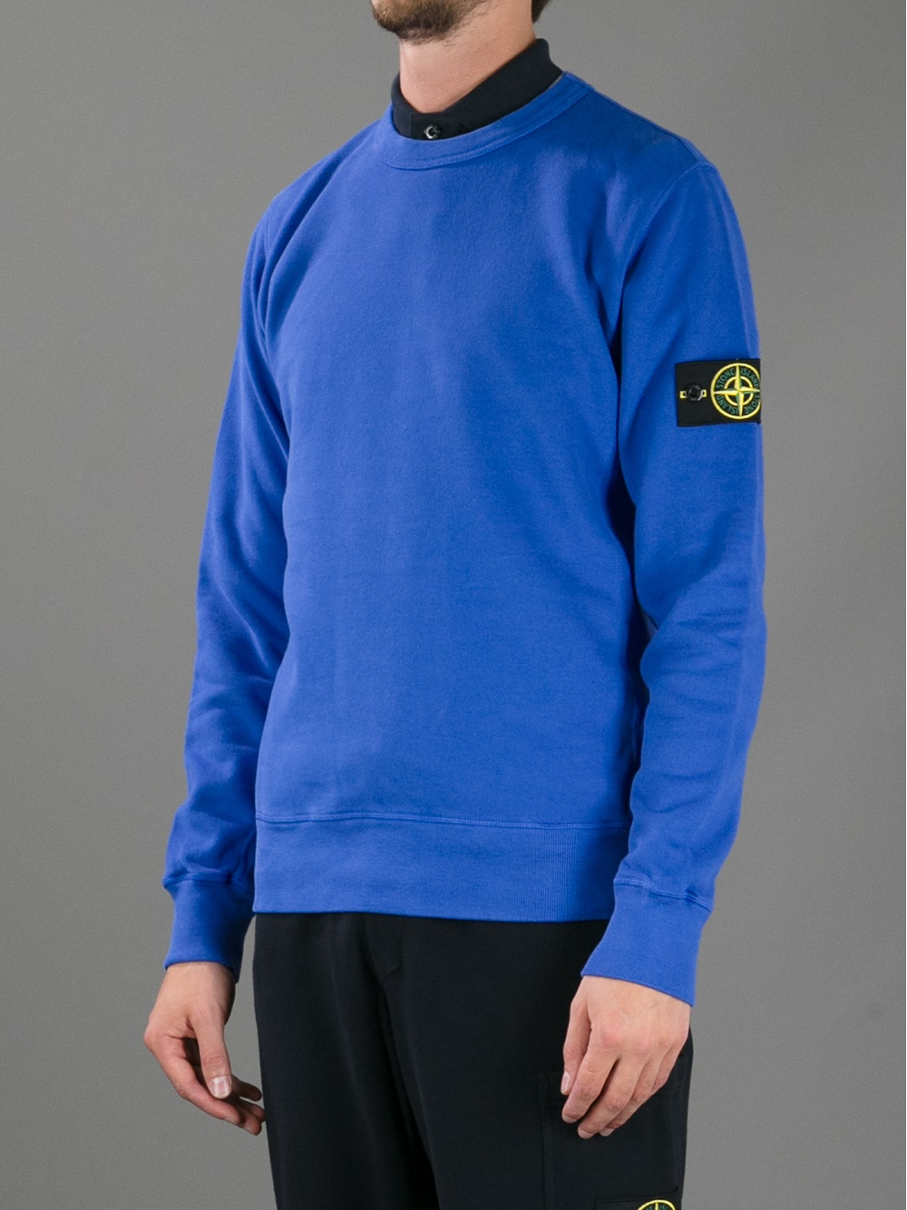 round neck sweatshirt - Blue Stone Island Under Sale Online iZe8xRcfr