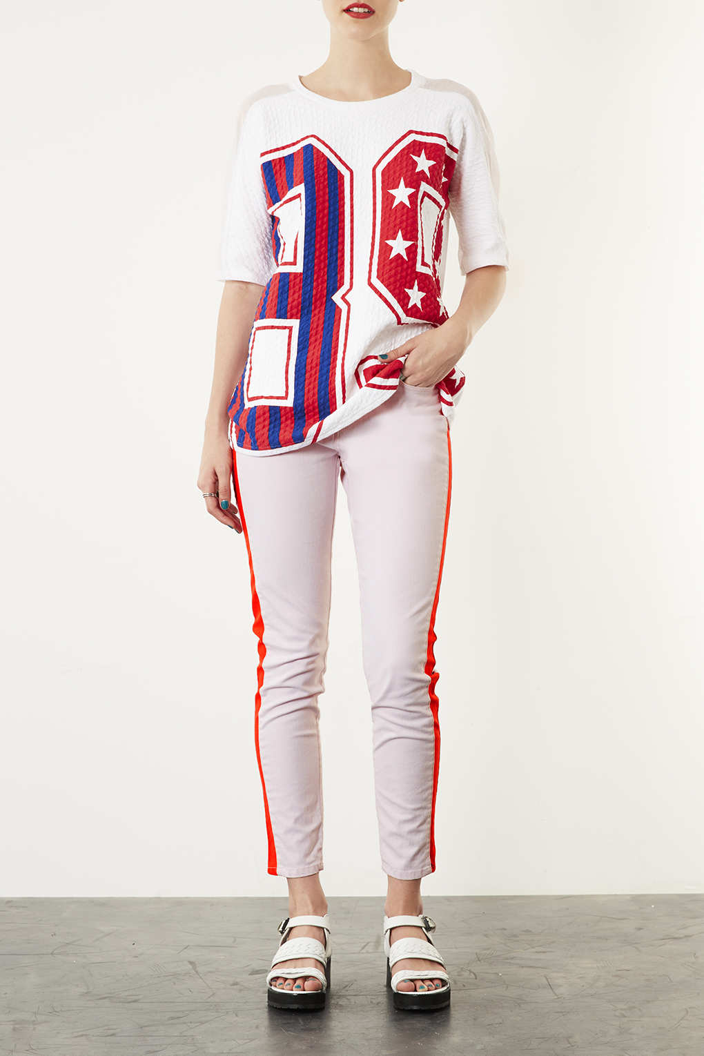 TOPSHOP Moto Pink Side Stripe Jeans in Pale Pink (Red)