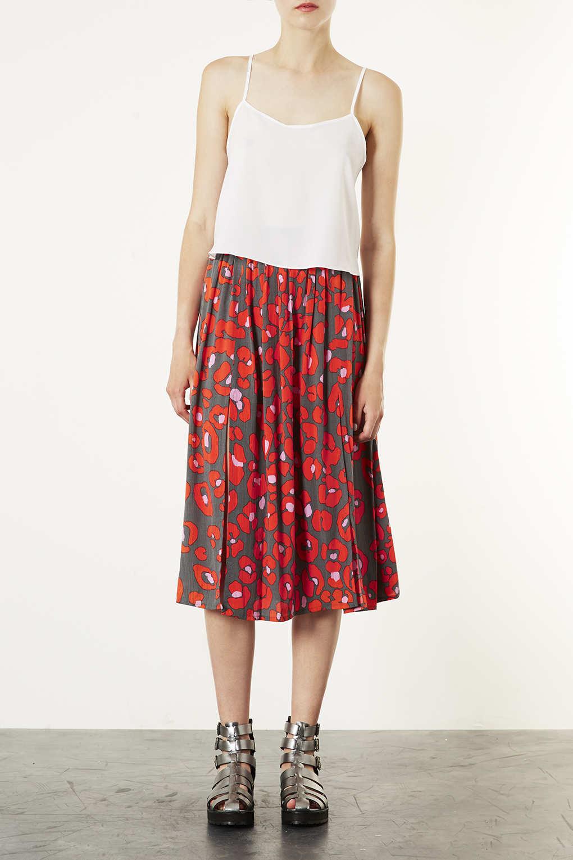 Topshop Red Animal Print Midi Skirt Lyst