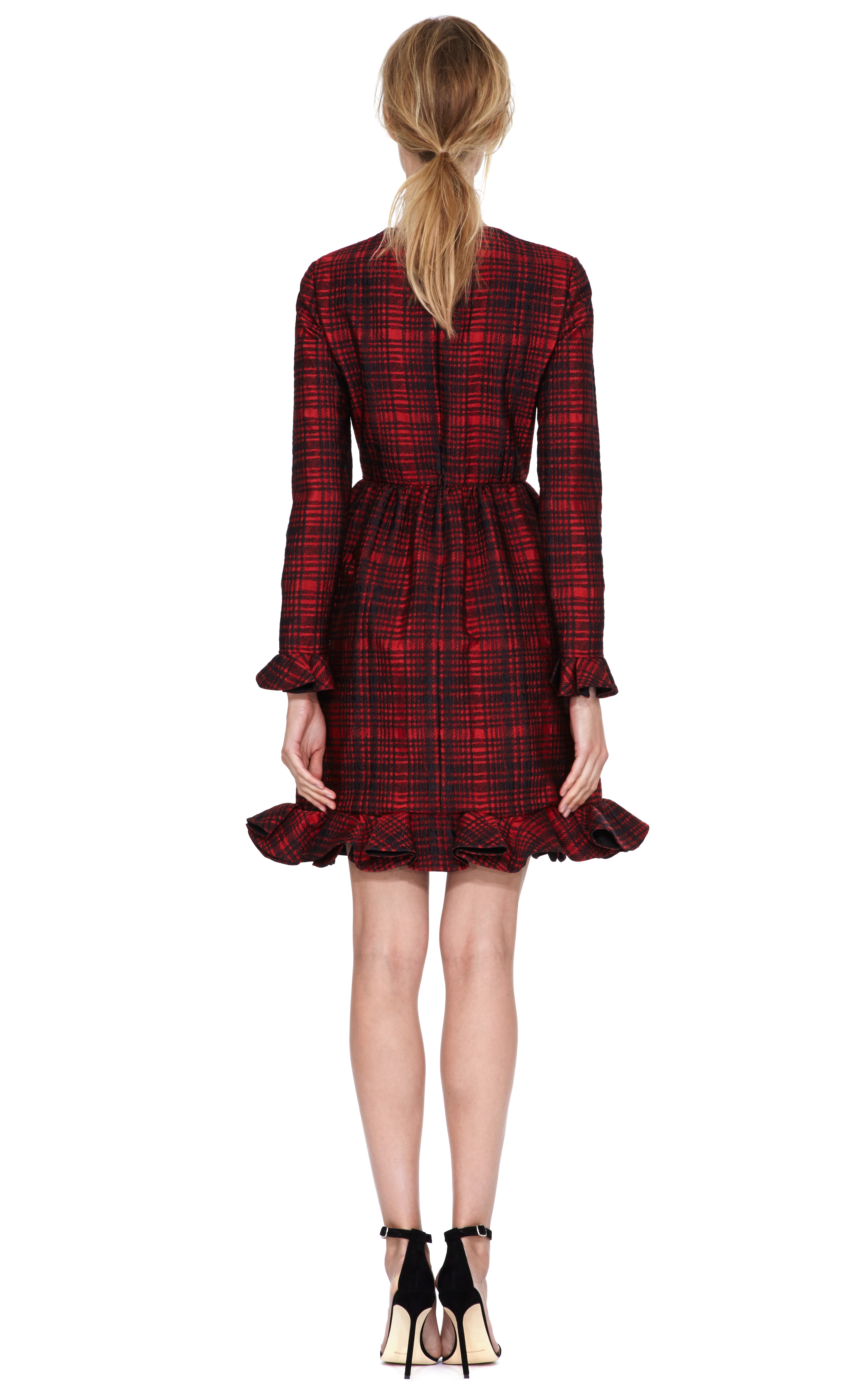 Valentino Plaid Long Sleeve Dress With Voulant Cuff And