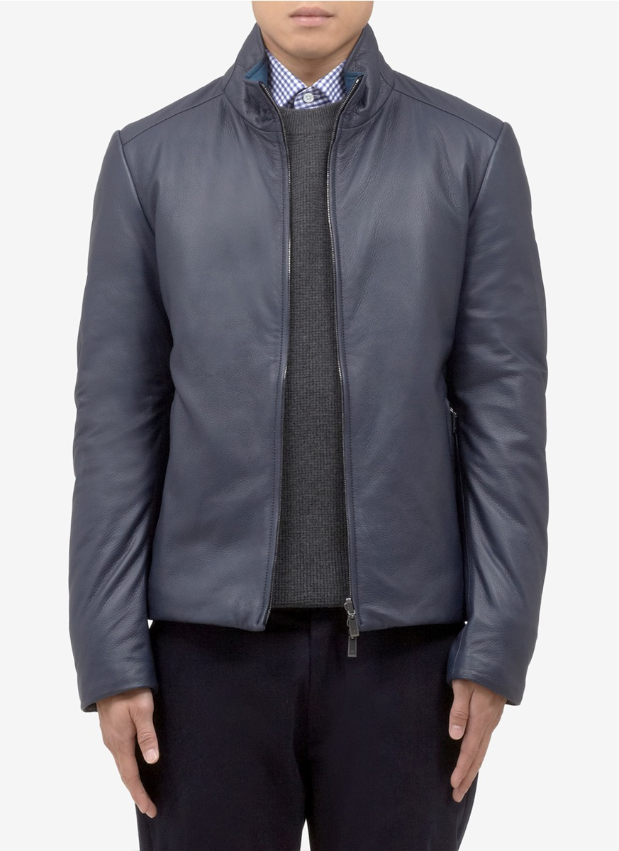 Canali Leather Reversible Quilted Jacket In Blue For Men