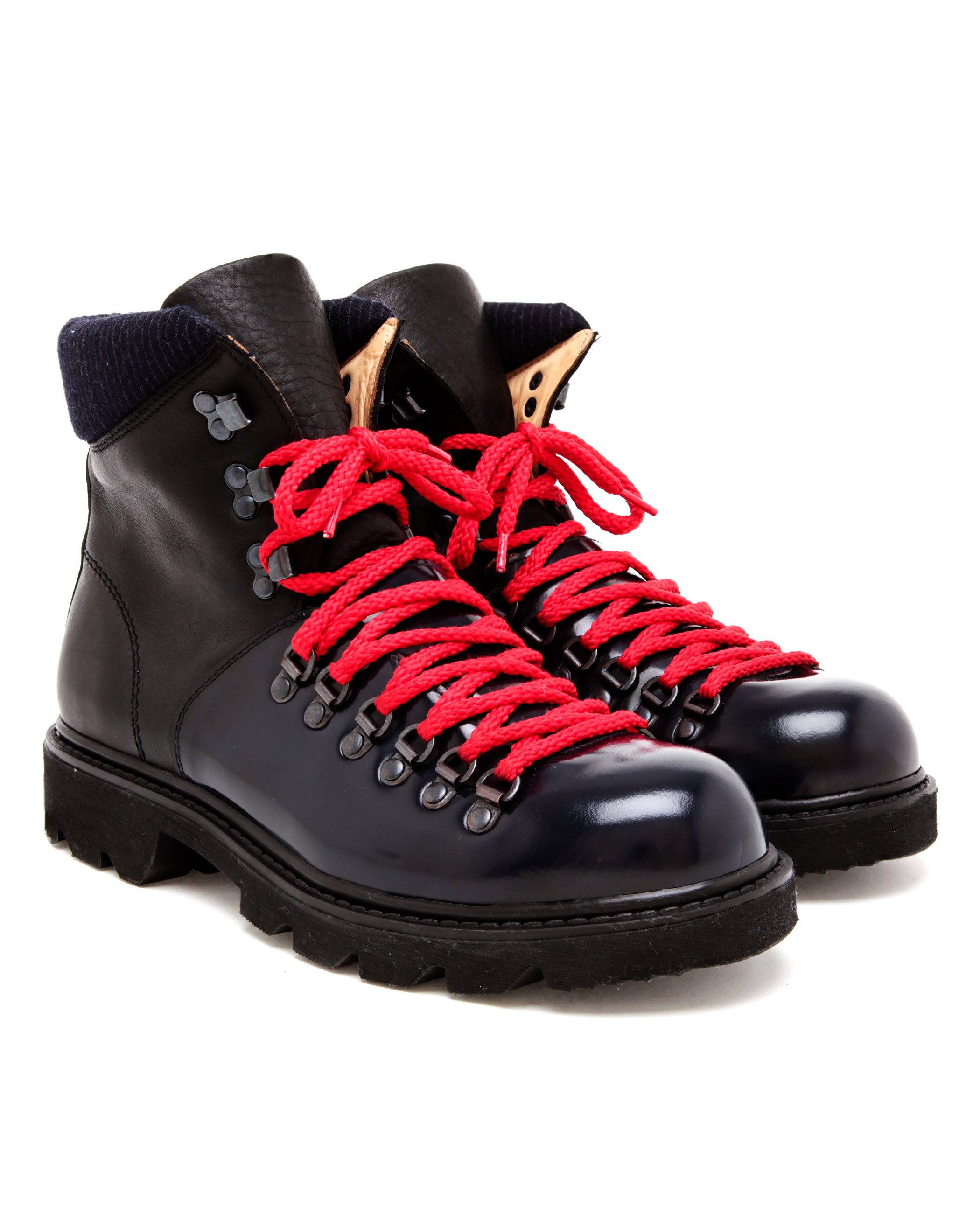 carven contrasting leather hiking boots in black lyst