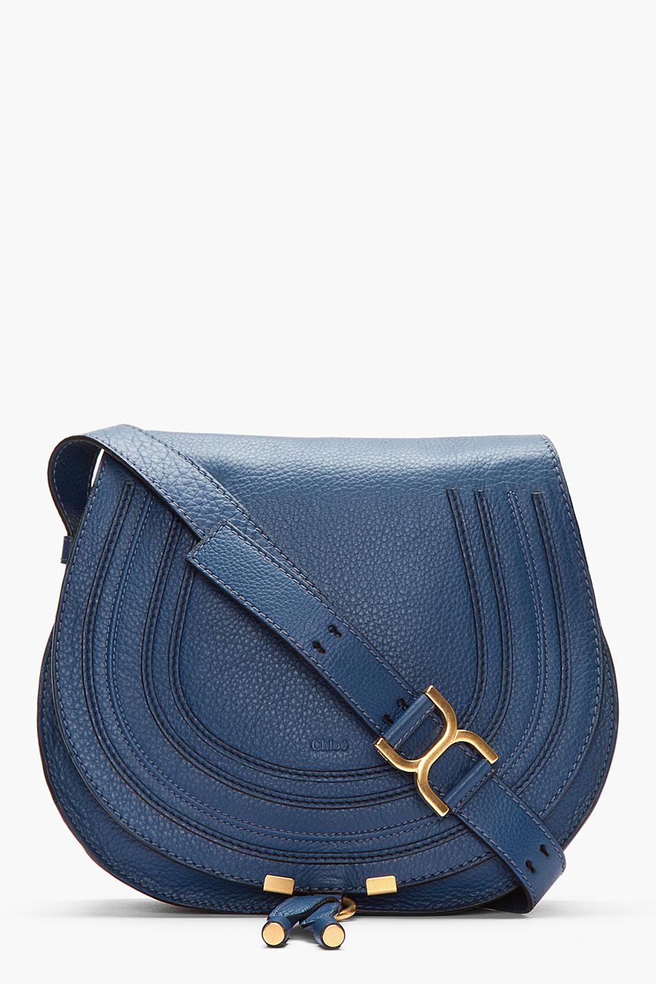 4c5c3ad84dc Chloé Medium Royal Navy Leather Marcie Shoulder Bag in Blue - Lyst