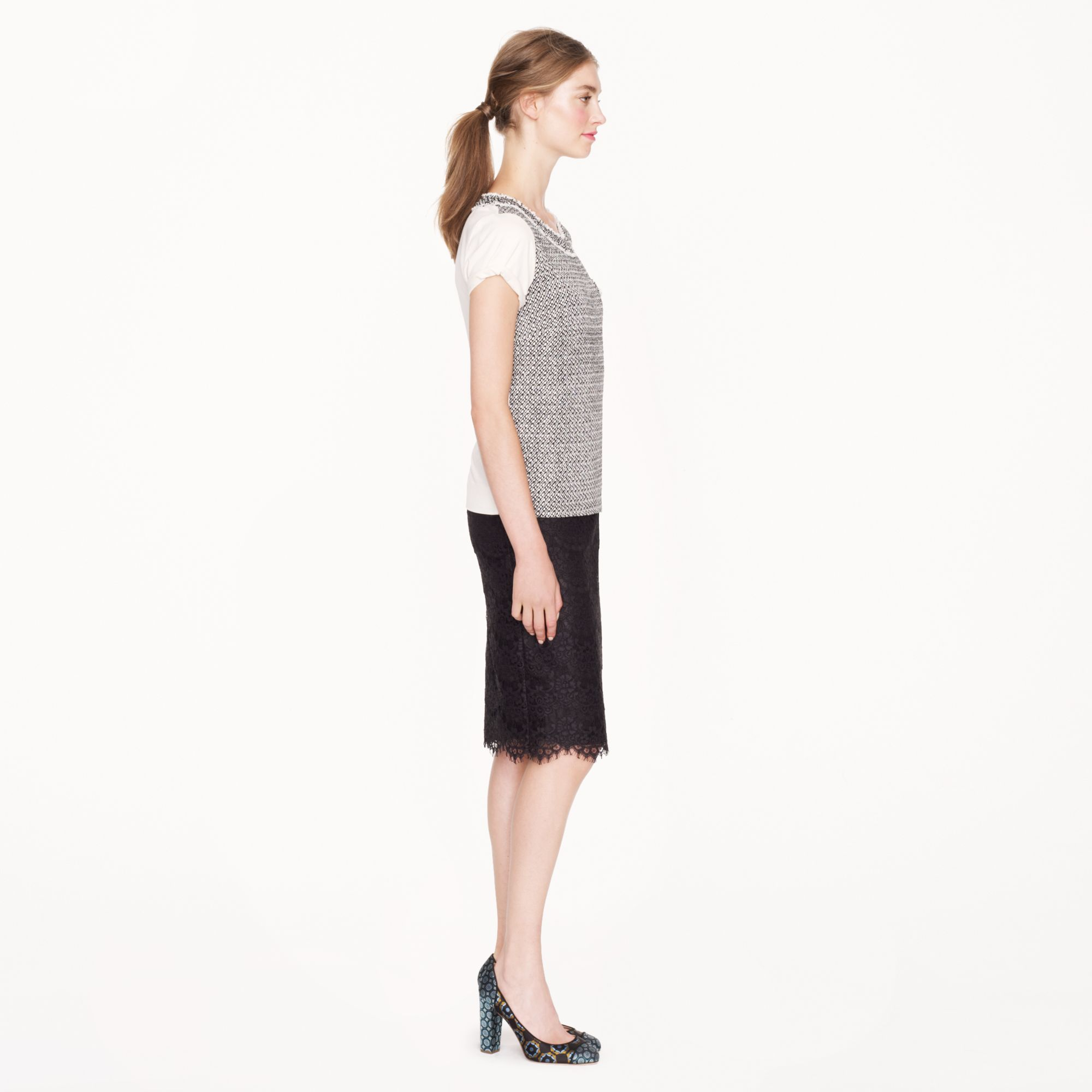 j crew collection pencil skirt in scalloped lace in black