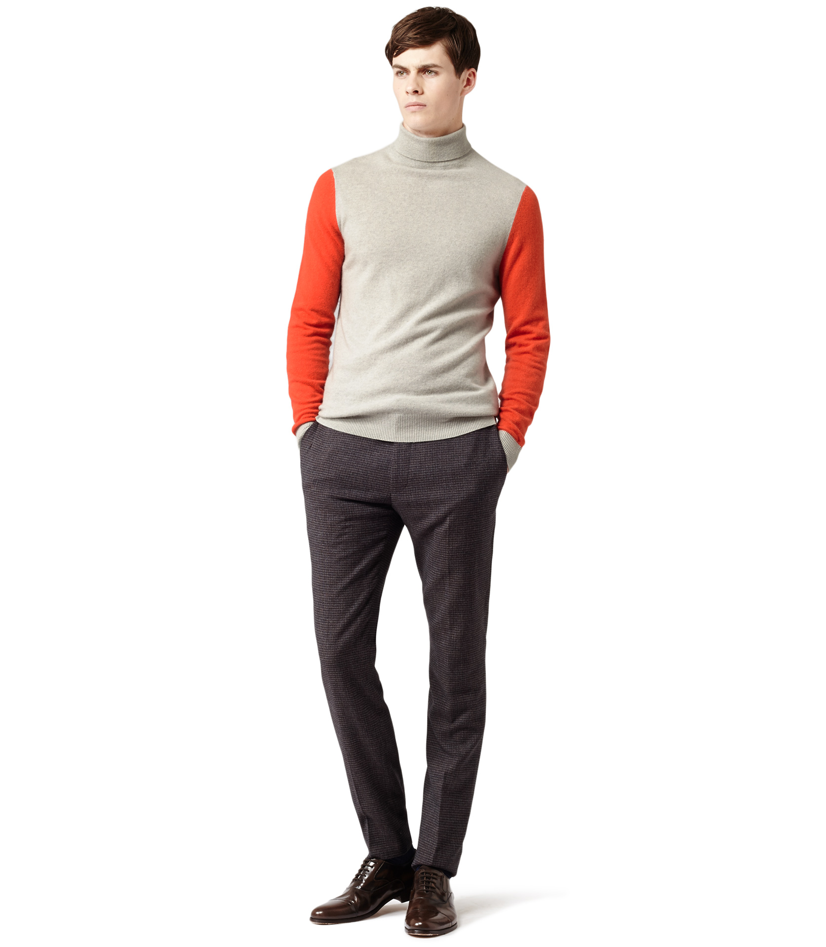 Lyst Reiss City Contrast Colour Roll Neck In Gray For Men