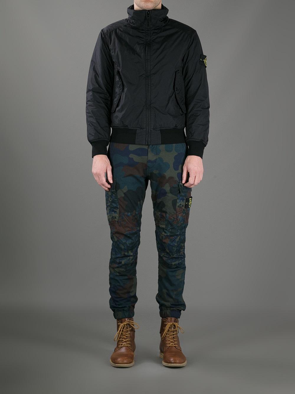Stone Island Bomber Jacket In Black For Men Lyst