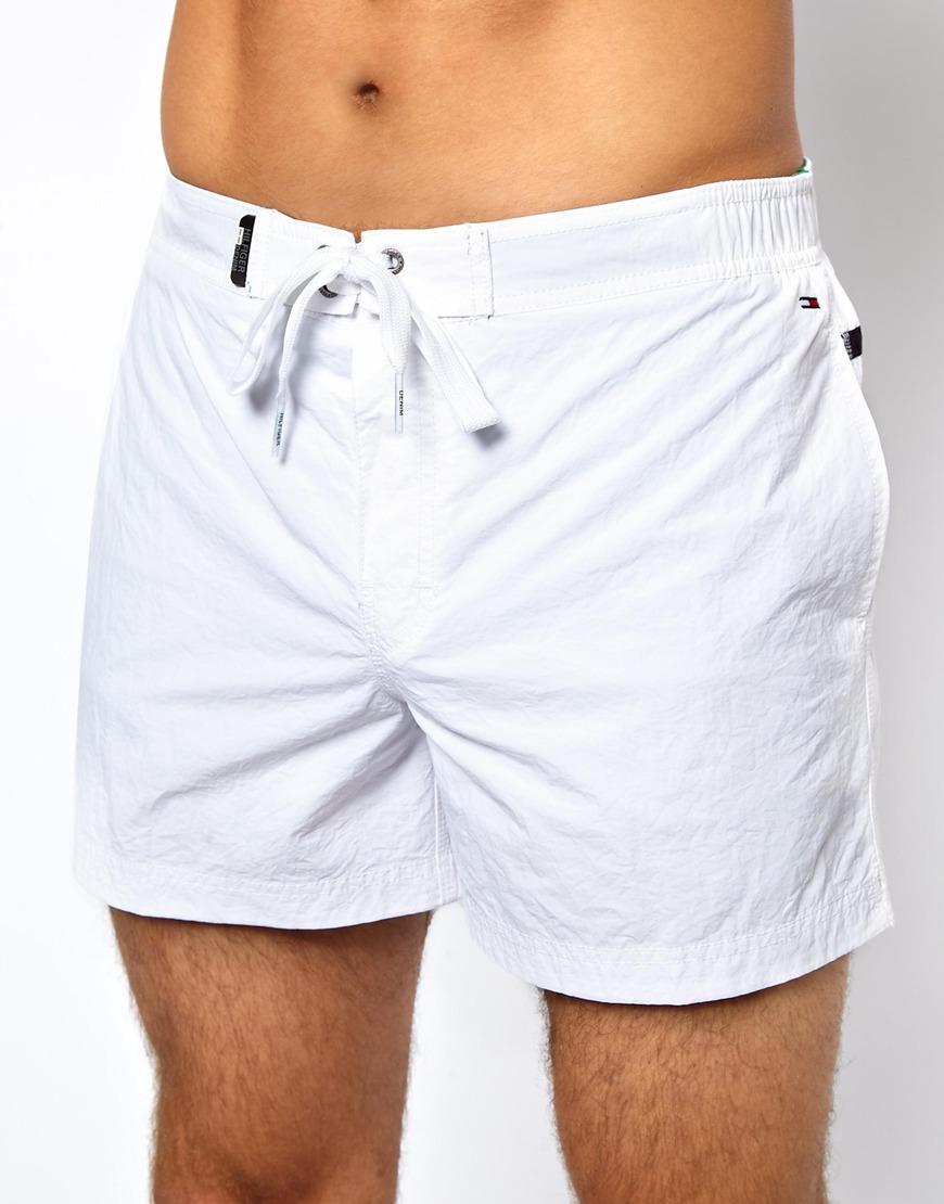 291d53b9056d Lyst - Tommy Hilfiger Denim Flag Swim Shorts in White for Men