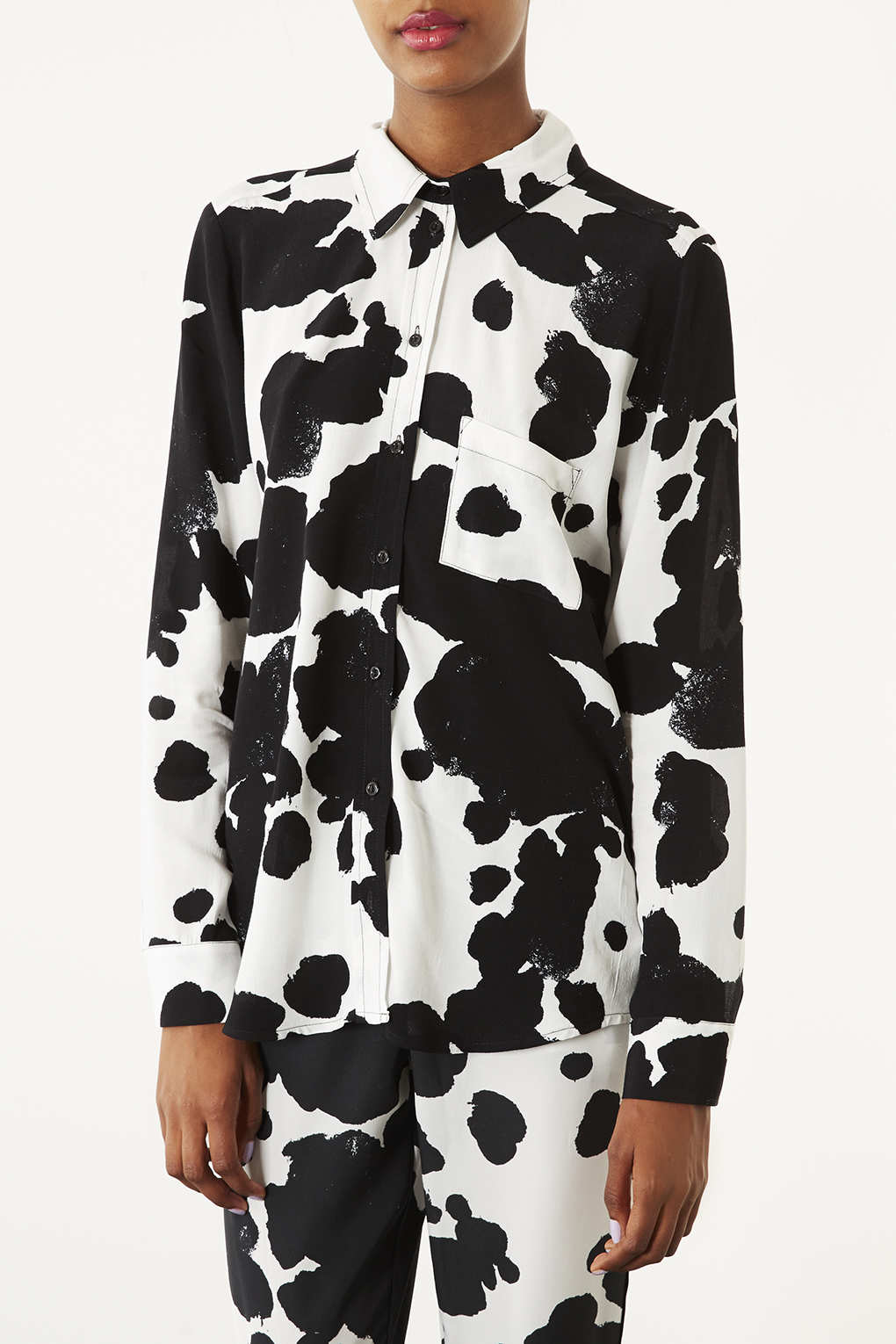 Lyst topshop cow print shirt in white for Womens denim shirts topshop