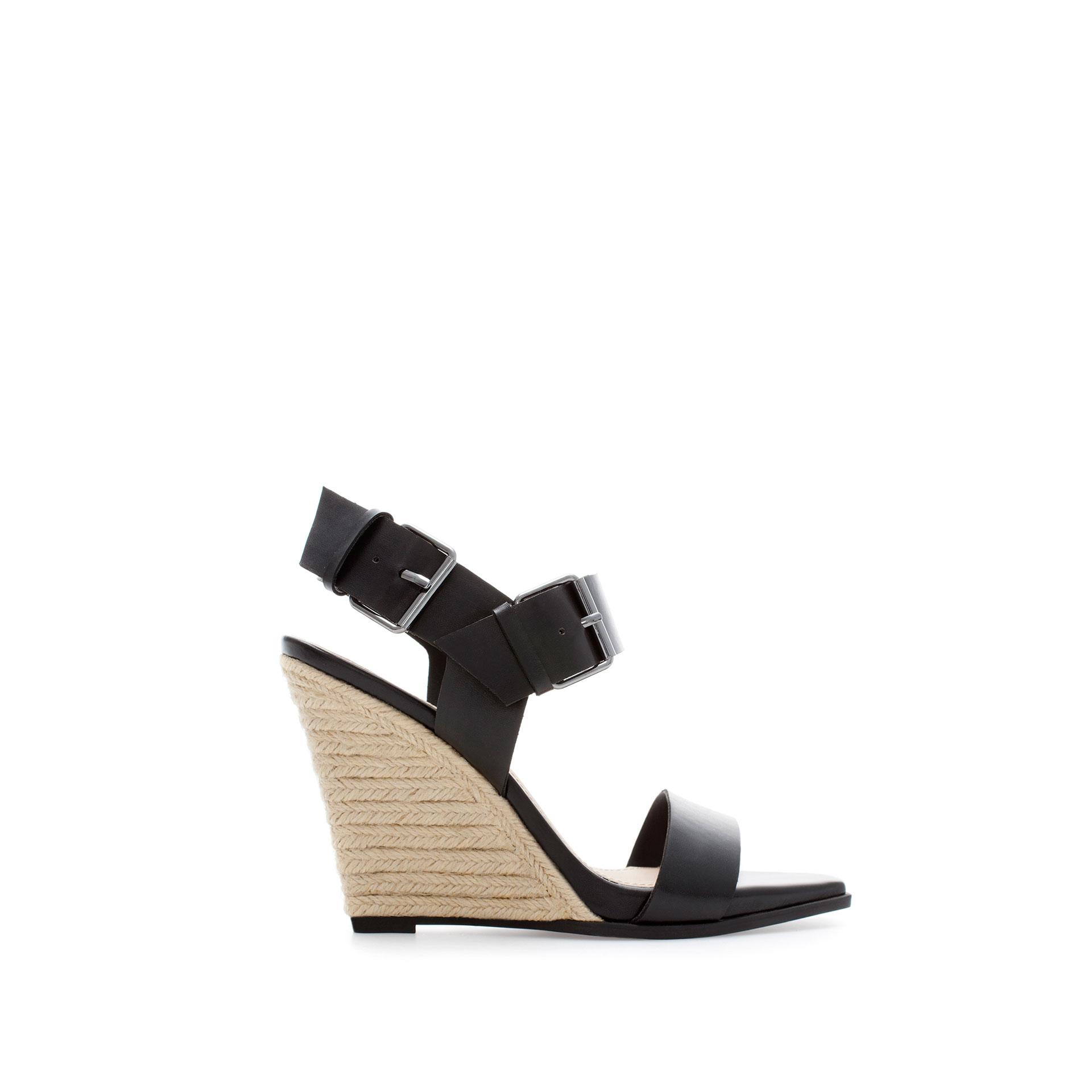 zara raffia wedge heel shoe in black lyst