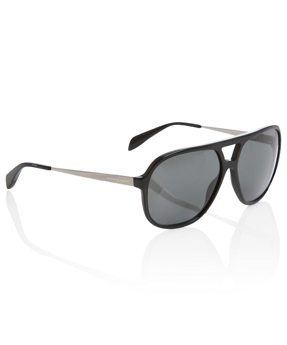 Alexander Sunglasses  alexander mcqueen aviator sunglasses in black for men lyst