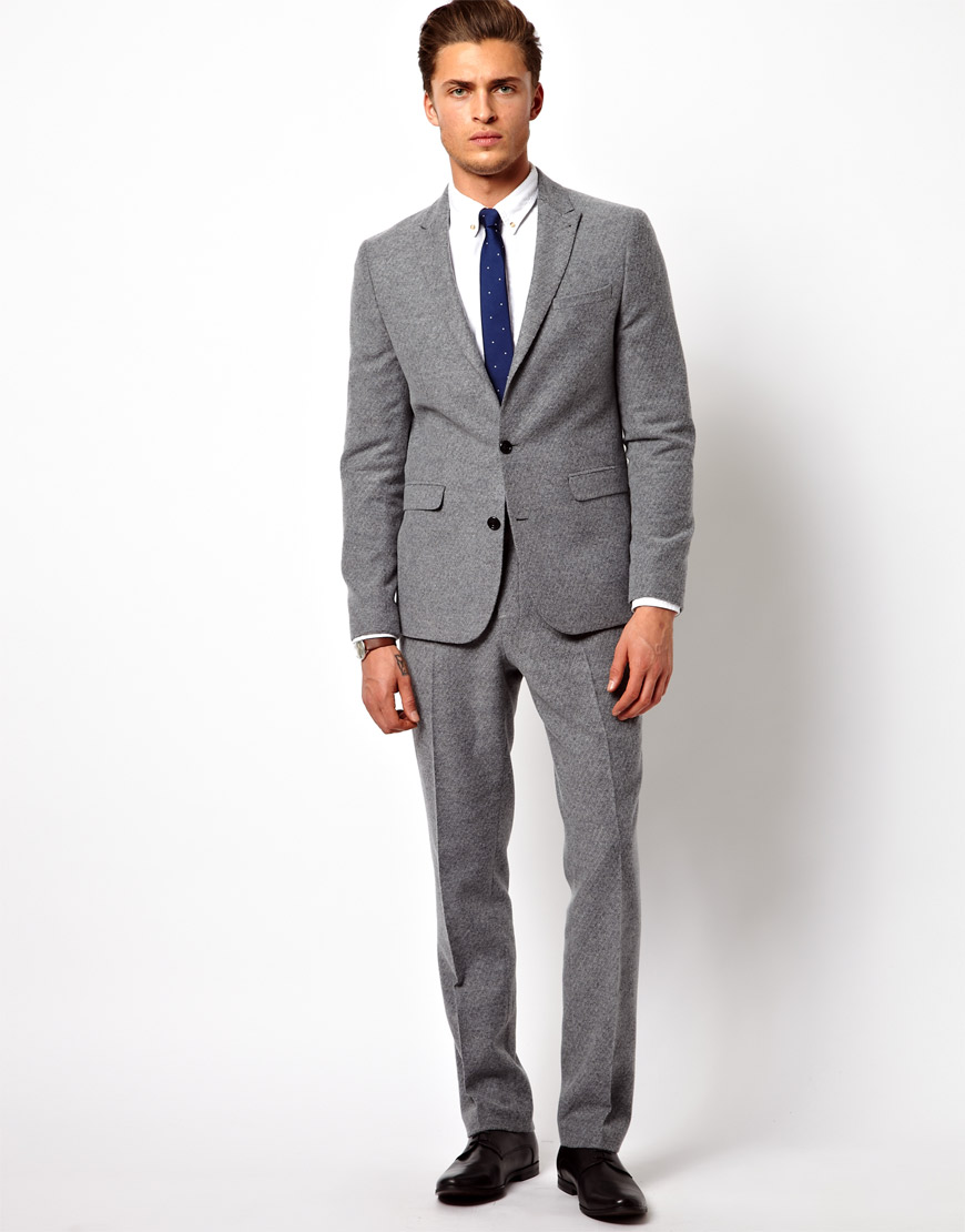 Asos Slim Fit Suit Jacket in Geo Design in Gray for Men | Lyst