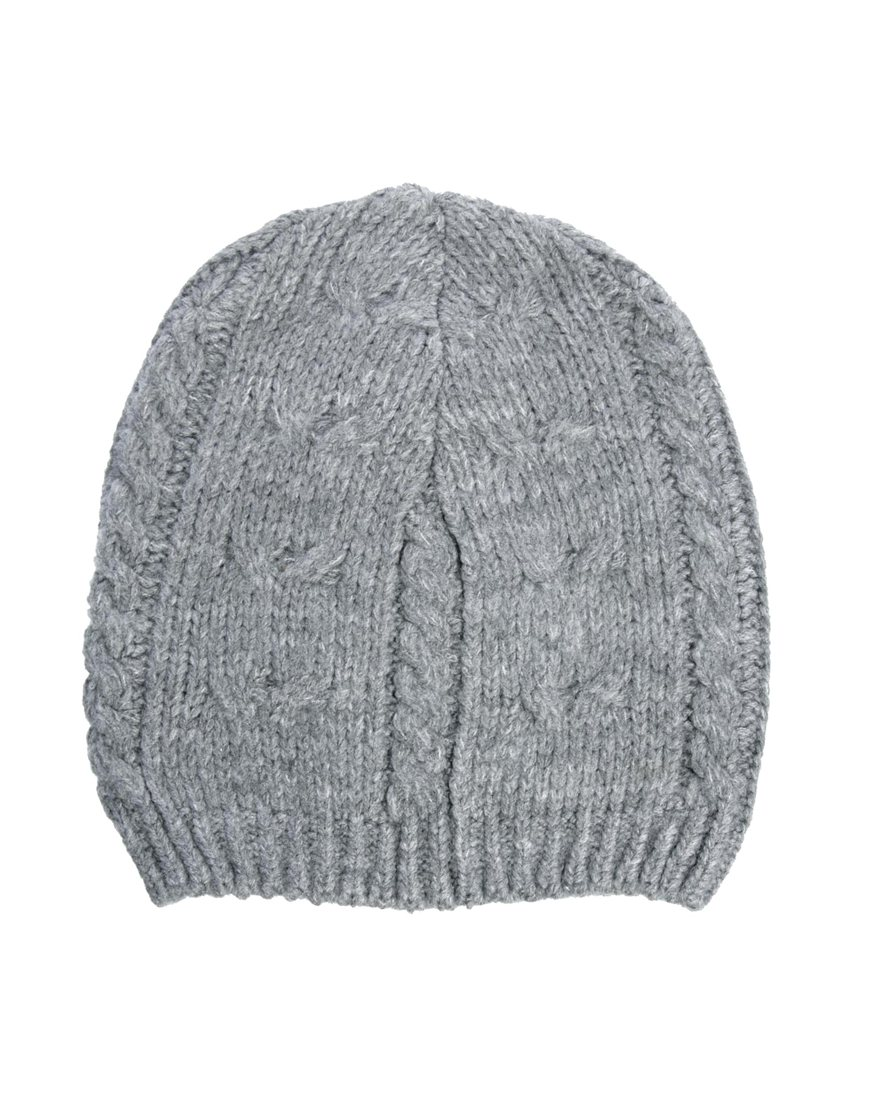 Lyst - Fred Perry Asos Cable Slouchy Beanie Hat in Gray for Men 17daa0a2fb46