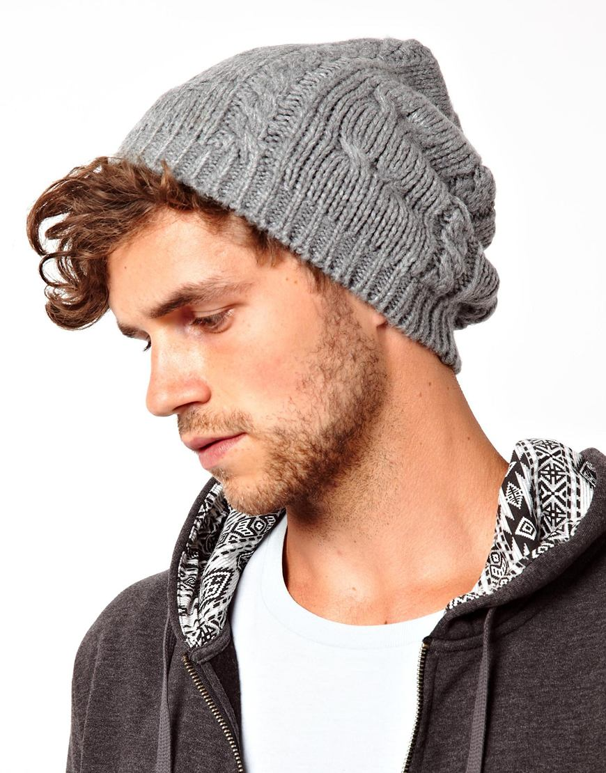 Lyst - Fred Perry Asos Cable Slouchy Beanie Hat in Gray for Men 48719a02e7d