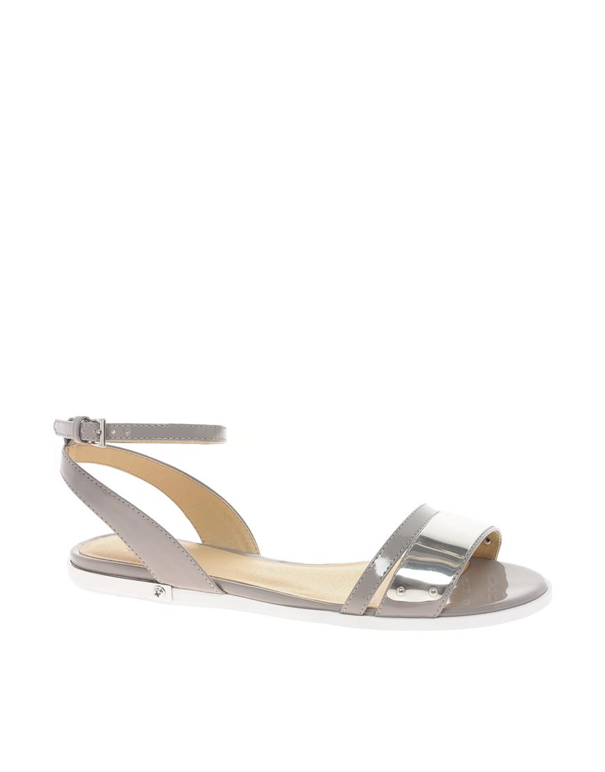 4af3be30fa344 Lyst - ASOS Franklin Flat Sandals in Gray