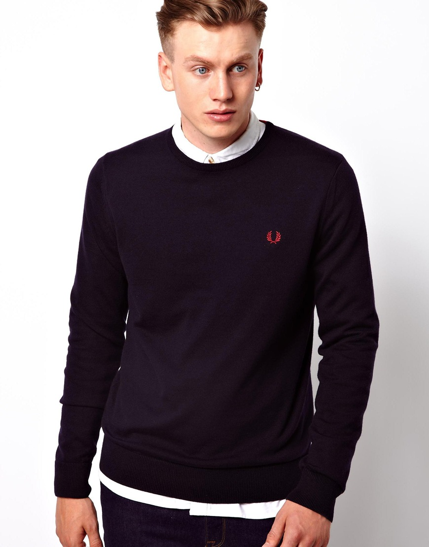 Fred Perry Mens Classic Crew-Neck Sweater