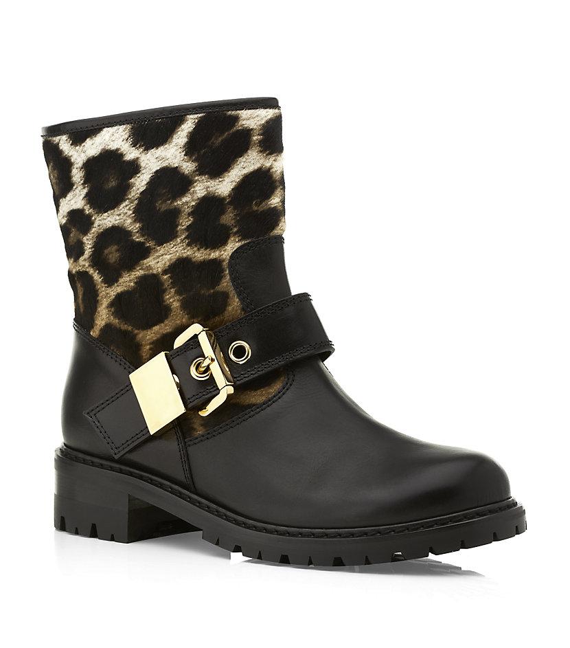 giuseppe zanotti leopard print biker boot in black