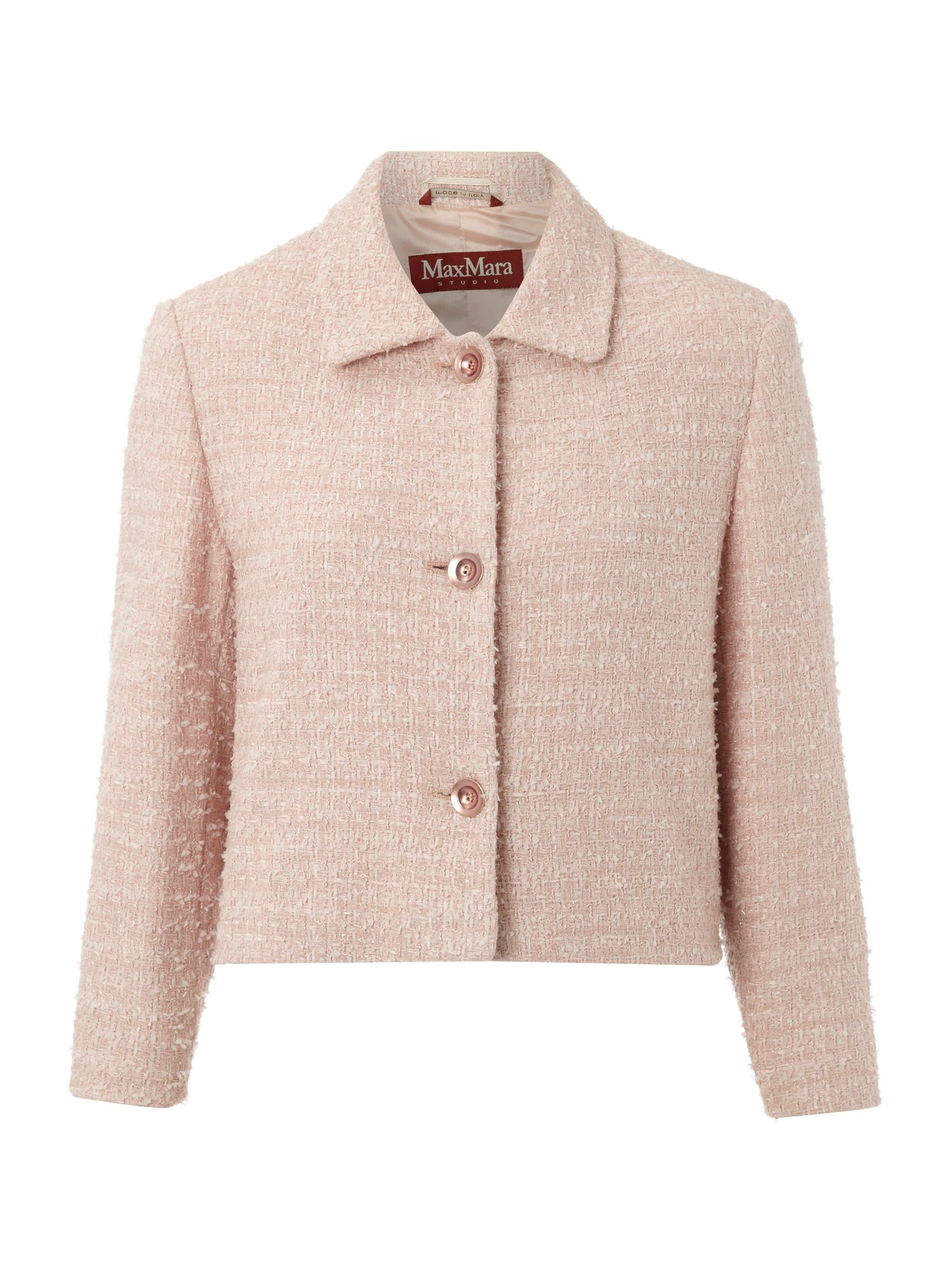 Max mara studio Feltro Boucle Jacket in Pink | Lyst