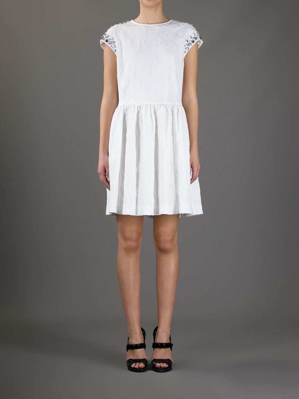 Msgm white lace dress.