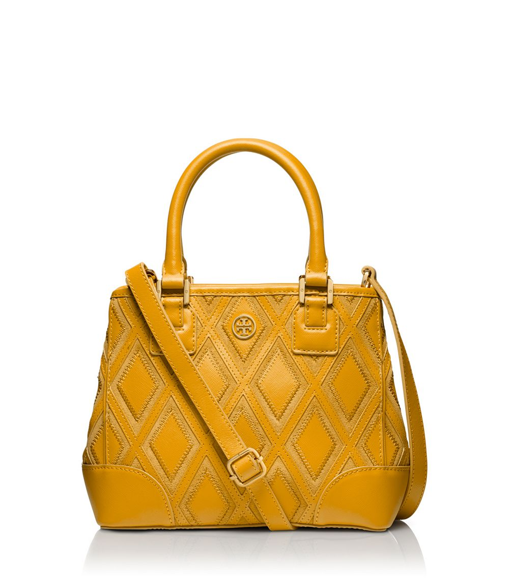 d9a067c606df Lyst - Tory Burch Robinson Patchwork Mini Square Tote in Yellow
