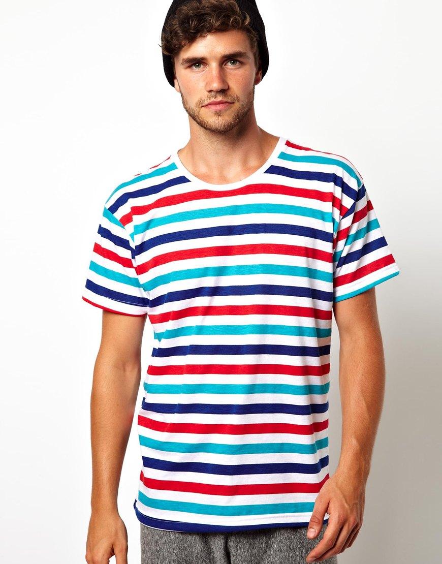 American Apparel Stripe Tshirt In Multicolor For Men