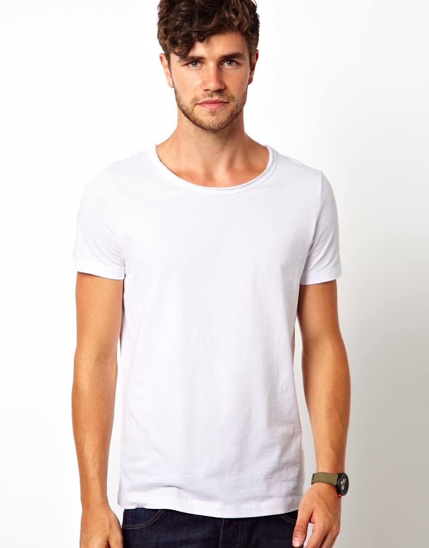 Asos Asos Tshirt With Raw Edge Scoop Neck In White For Men