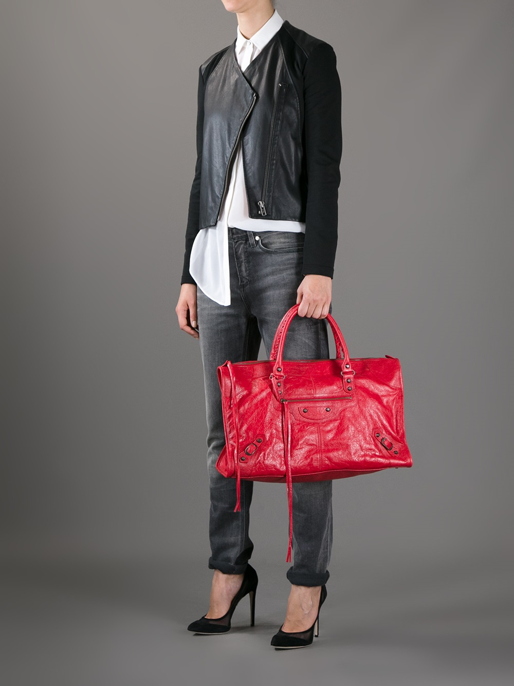 Balenciaga Classic Work Tote in Red | Lyst