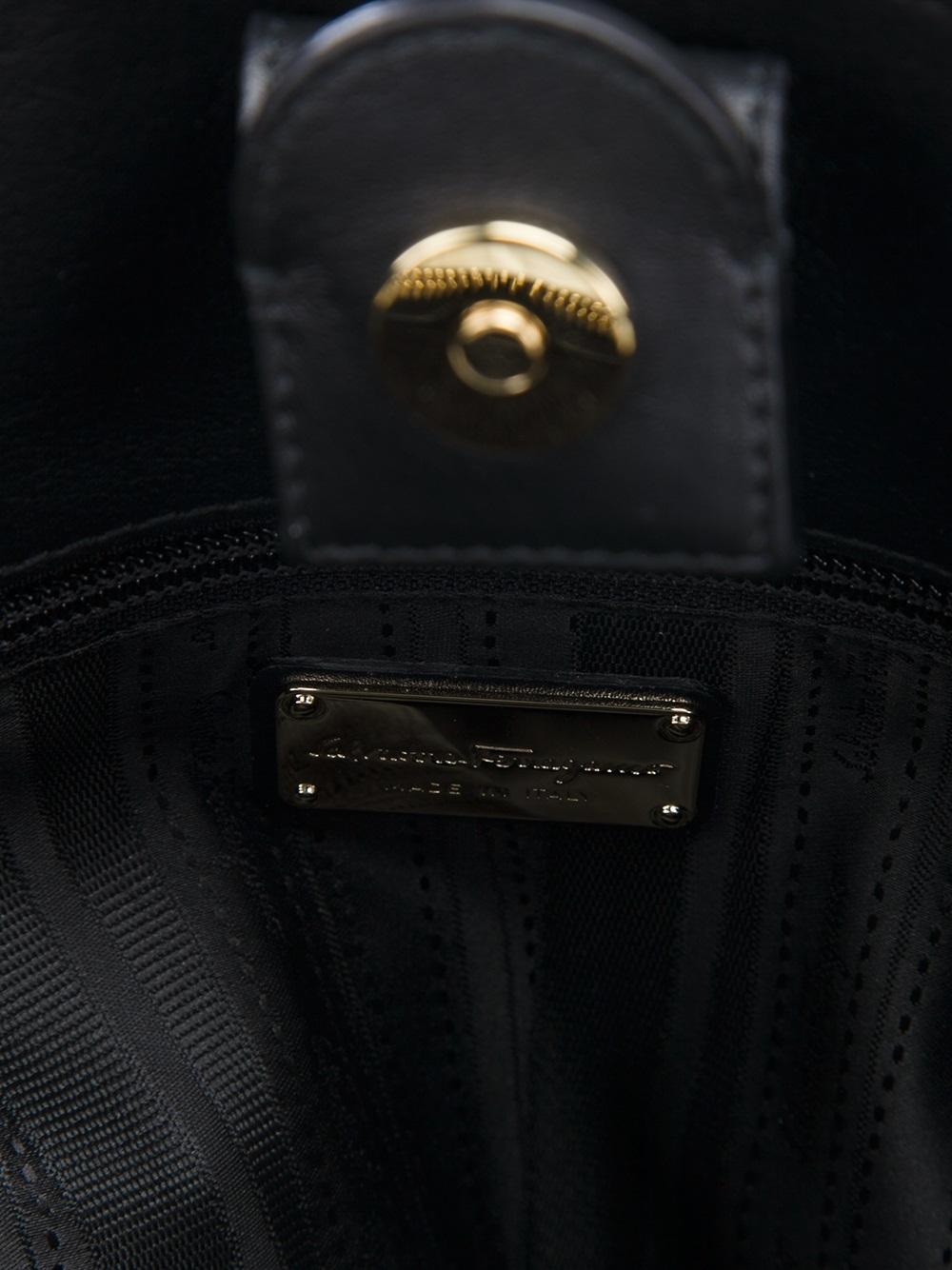 Ferragamo Chain Handle Tote in Black