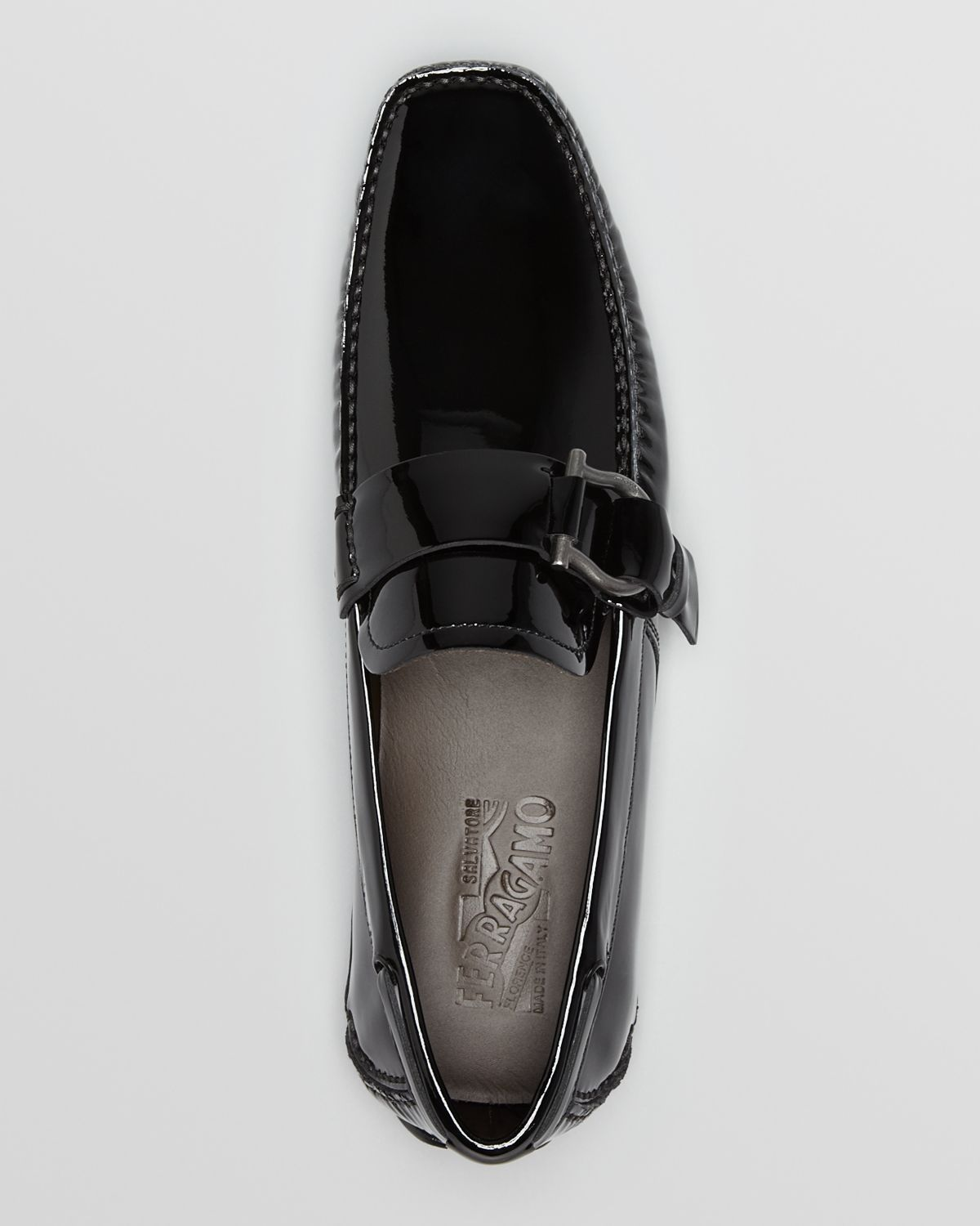 Ferragamo Cabo Patent Leather Driving Loafers In Black For