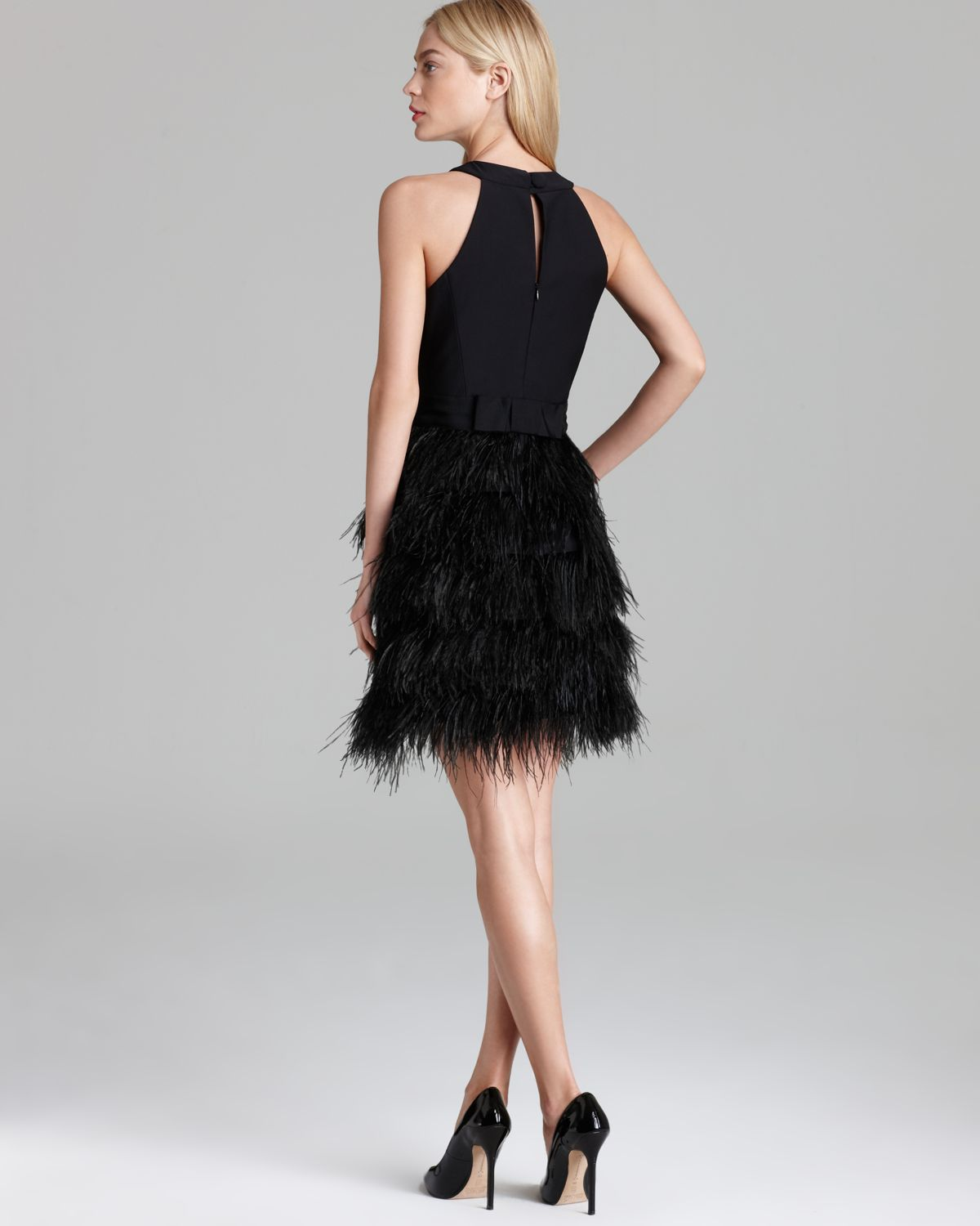 Milly Dress Feather Sleeveless In Black Lyst