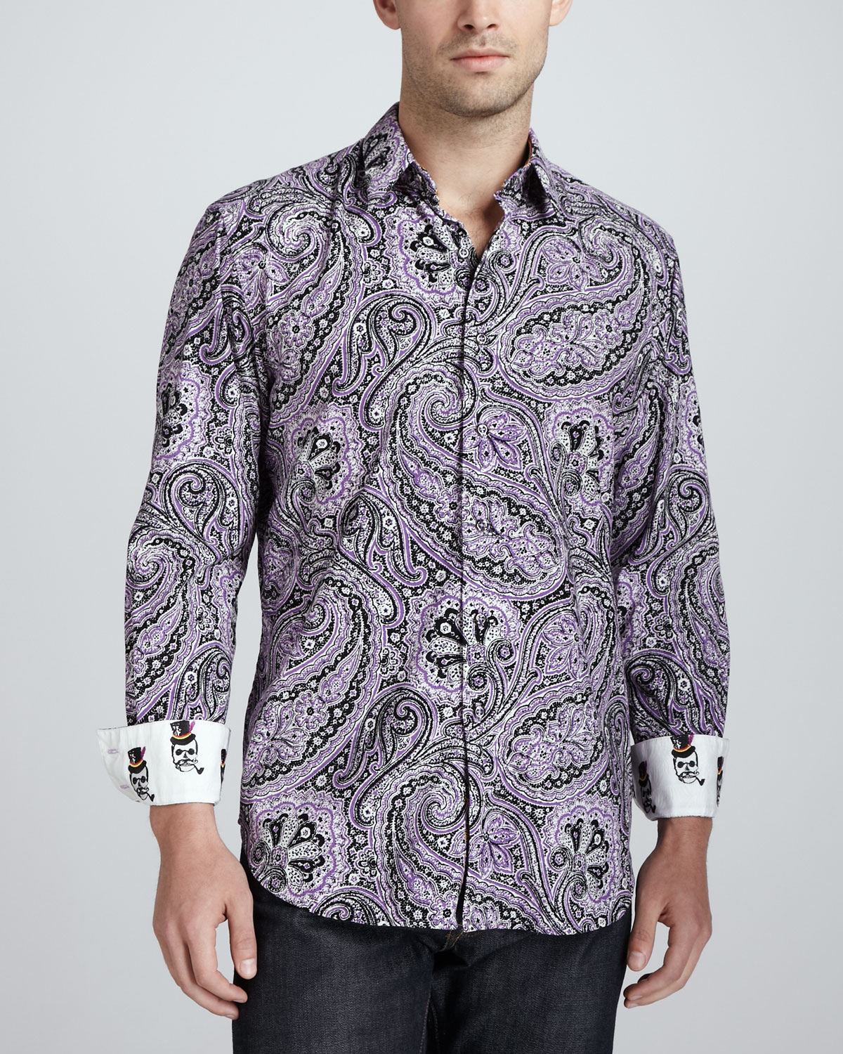 Robert graham joule paisley sport shirt purple in gray for for Where are robert graham shirts made