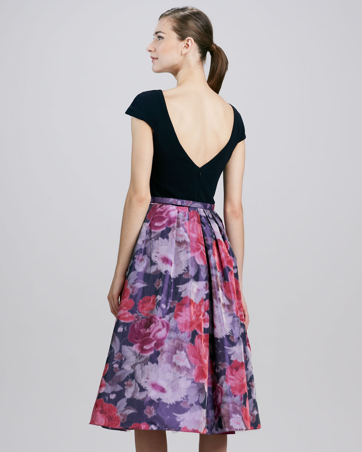 Lyst - Theia Floral Fullskirt Combo Cocktail Dress in Purple