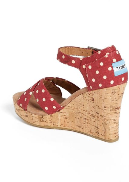 toms polka dot linen woven wedge sandal in polka