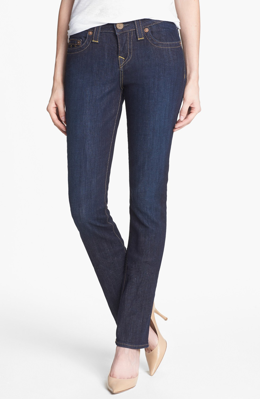true religion avery high rise straight leg jeans in blue. Black Bedroom Furniture Sets. Home Design Ideas