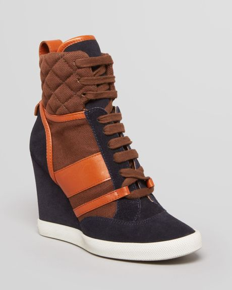 chlo lace up wedge sneakers kasia in orange blue brown lyst. Black Bedroom Furniture Sets. Home Design Ideas